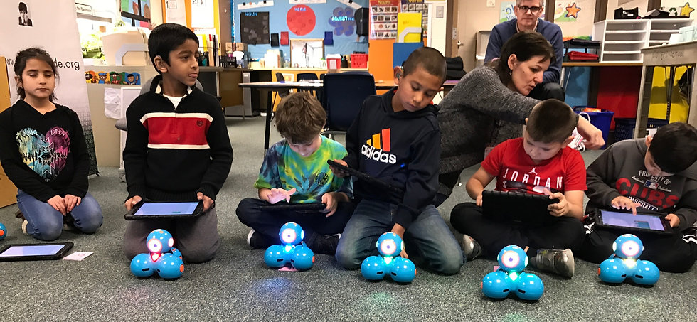 children sitting on the floor holding iPad with robots