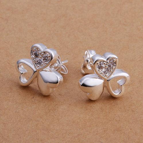 Juri Triple Heart Stud Earrings 925 Silver Plated