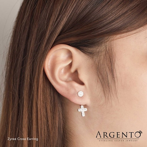 Zyree Cross 925 Silver Earrings by Argento