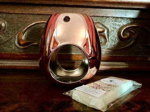 Rose Gold Wax Melt Burner & FOC Frankincense & Myrrh Snap Bar