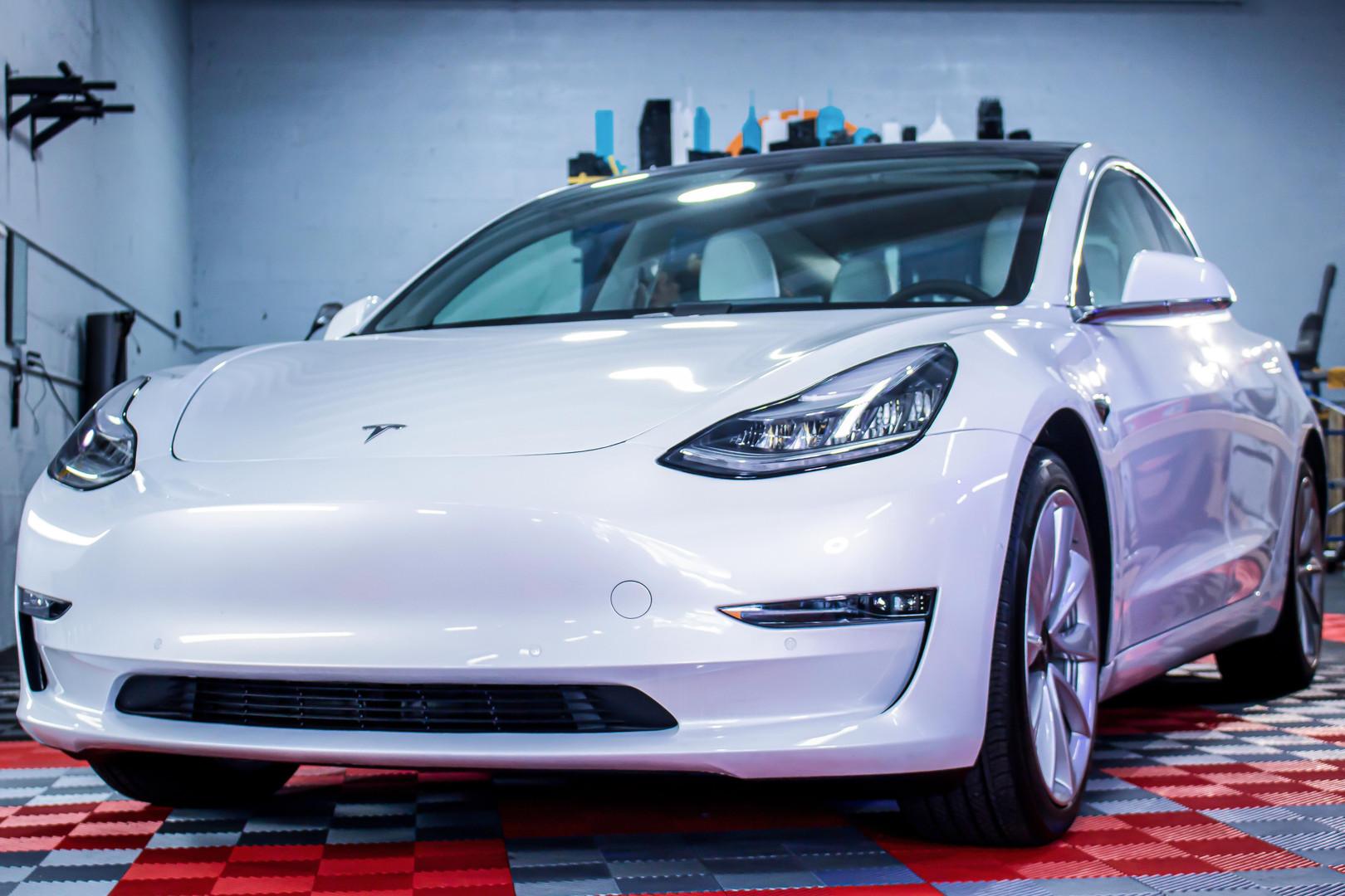 White Tesla photographed by Jorge Alberto Perez Miami Photographer