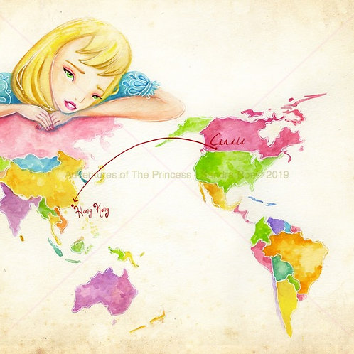 """""""The Princess Travels The World""""© - Greeting Card"""