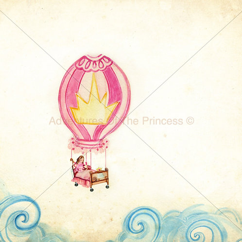 """The Floating Balloon Bed""© - Greeting Card"