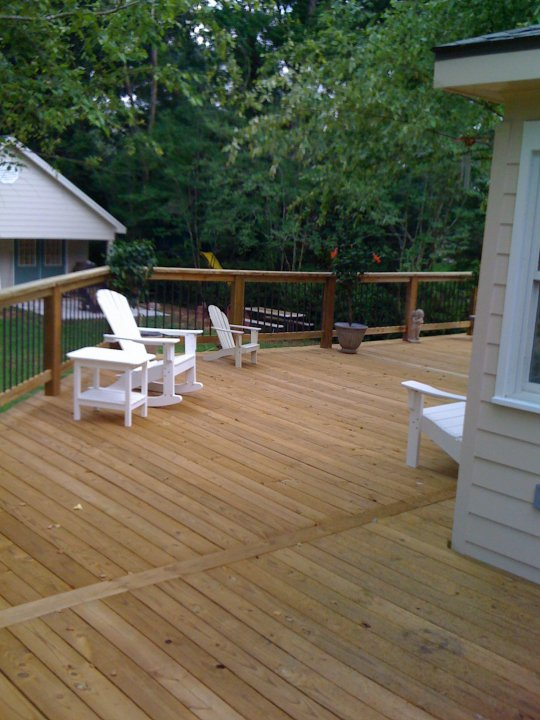 Deck With Custom Iron Baluster Rail