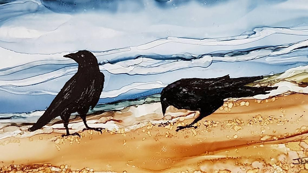 Alcohol ink crows January 24th