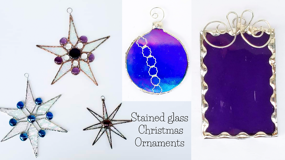 Stained glass Christmas ornaments November 17th