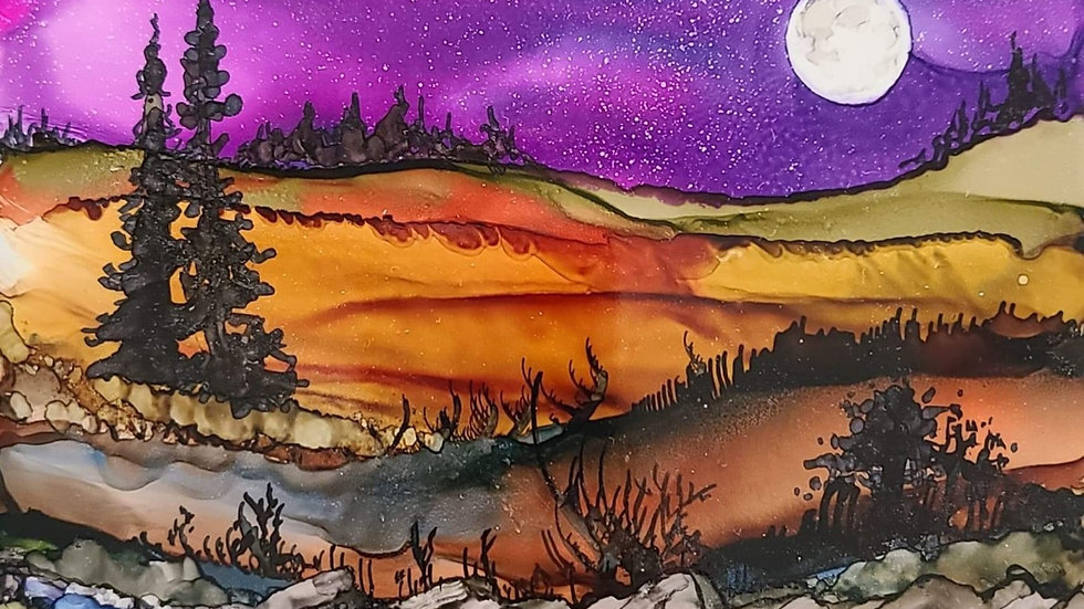 Alcohol ink on tile : Moonlight River June 17th