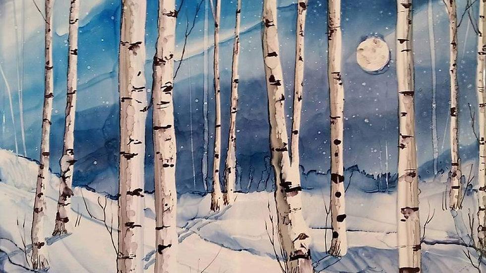 Winter birch alcohol ink class December 5th