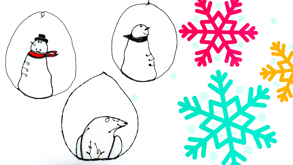 Stained glass ornaments :  Polar bear or snowmen