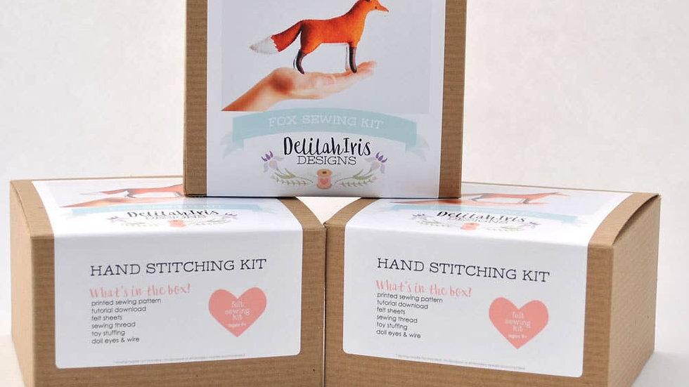 Felt fox hand stitching kit