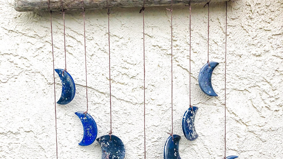 Moon phase pottery mobile/chime kit