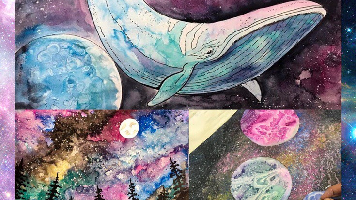 Watercolour galaxies DIY art kit!