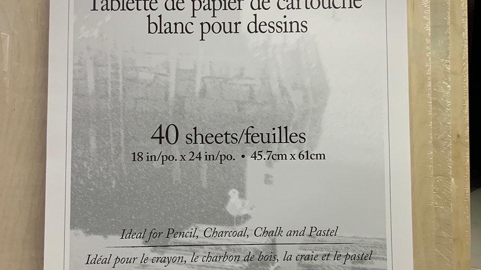 White Vellum Cartridge Drawing Paper Pad - 18x24 - 40 Sheets