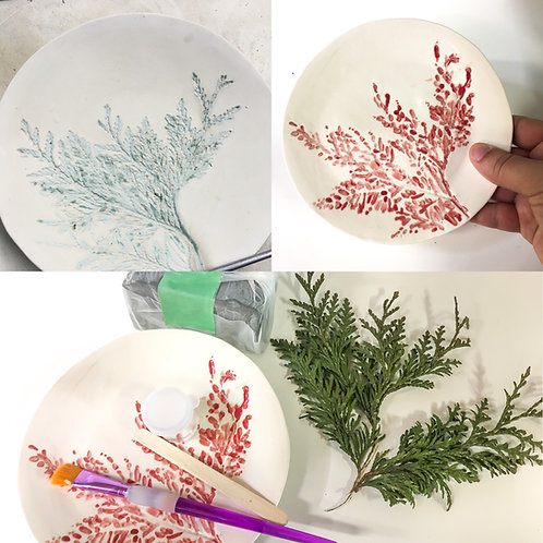 Rustic footed plate kit with pressed foliage