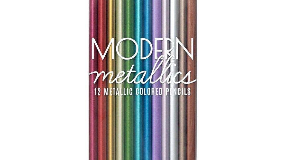 Metallic coloured pencils set of 12