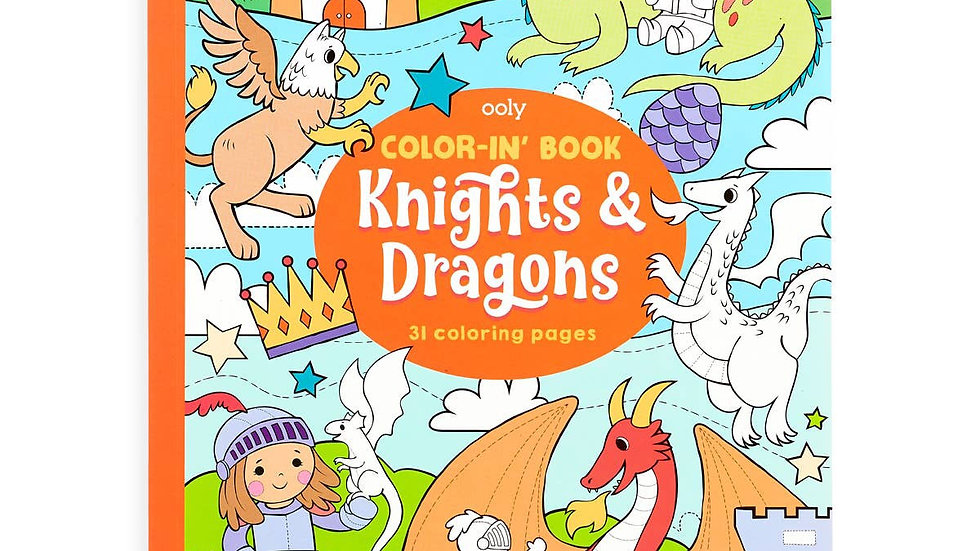 Knights and dragons colouring book