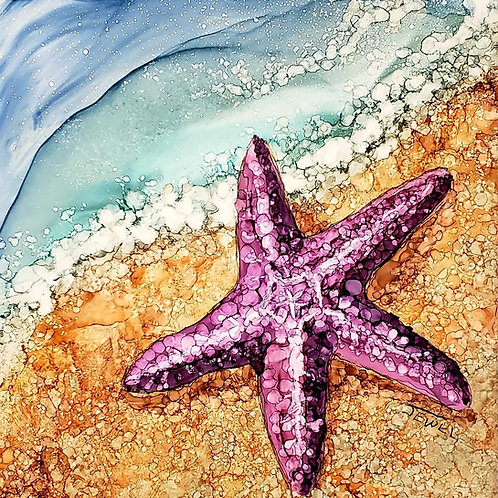 A sun bathing star fish in alcohol ink : Oct 17