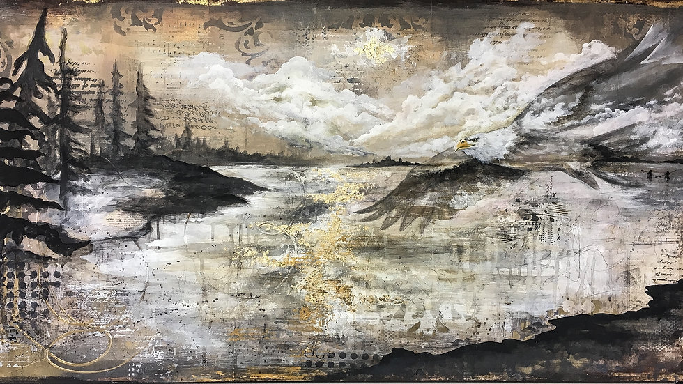 Mixed media landscape and wildlife painting January7th