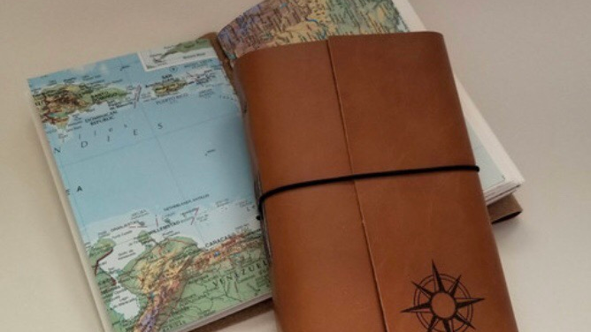 Handcrafted travel journal sketchbook