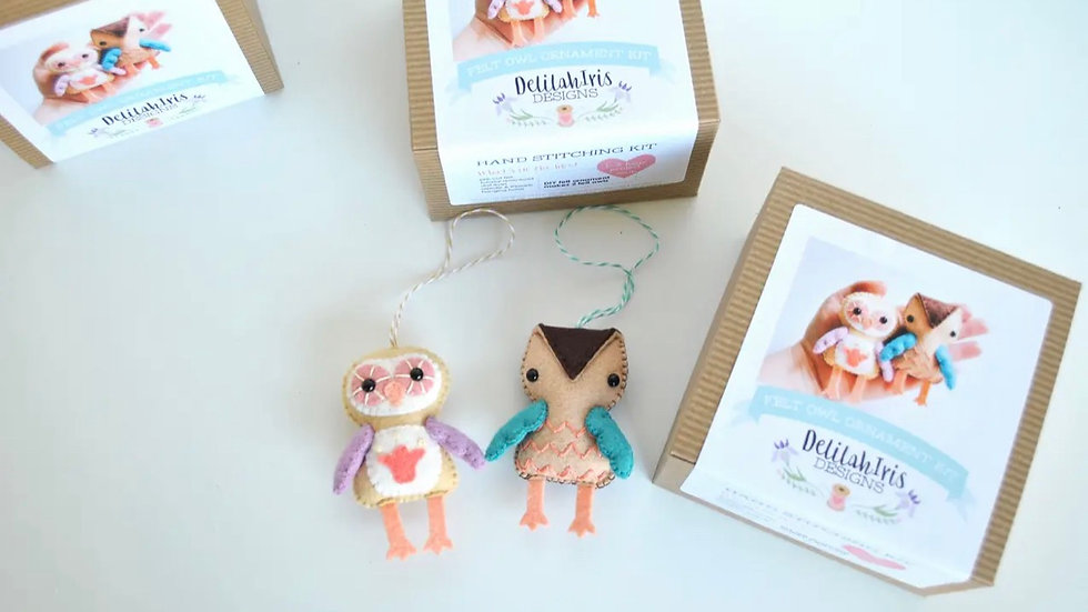 Little owls felt hand stitching kit