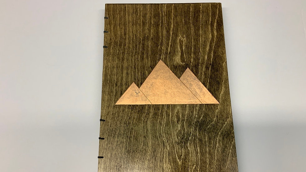 """9""""x12"""" Wooden Sketch Book with Copper Mountain Design"""