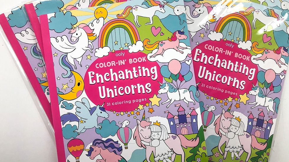 Enchanting unicorns colouring book