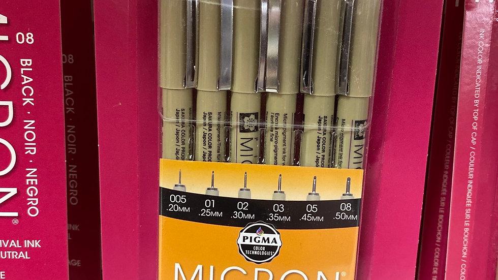 Micron fine line pen set 6