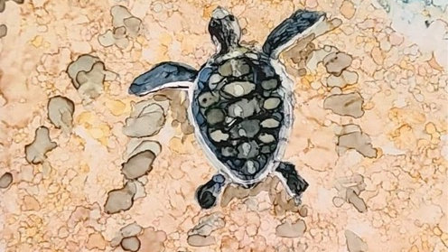 Alcohol ink on tile Ocean Bound Turtles May 1st