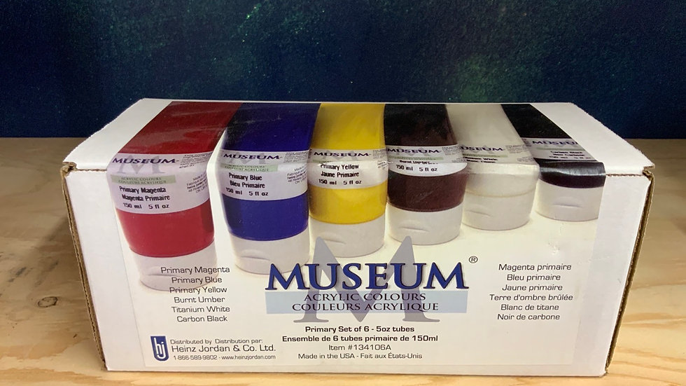Museum Acrylic Colours - Primary Set of 6 - 5oz Tubes