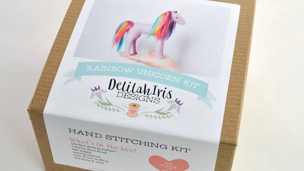 Rainbow unicorn hand stitching kit