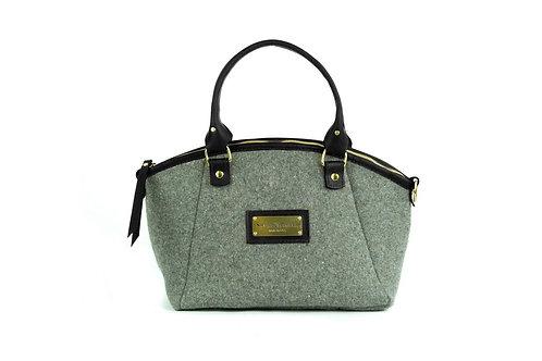Grey Wool Handbag - Black