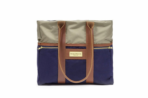 Blue Signature Zip Top Tote
