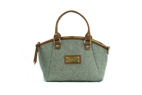 Grey Wool Handbag - Brown