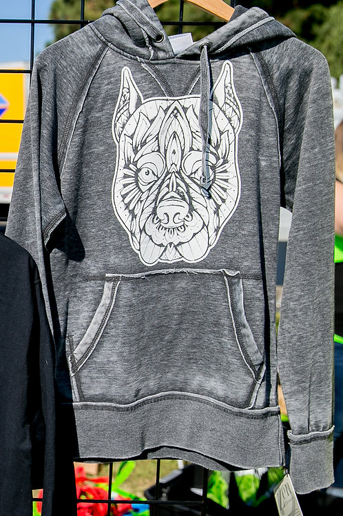 Pit Bull Face Distressed Hoodie