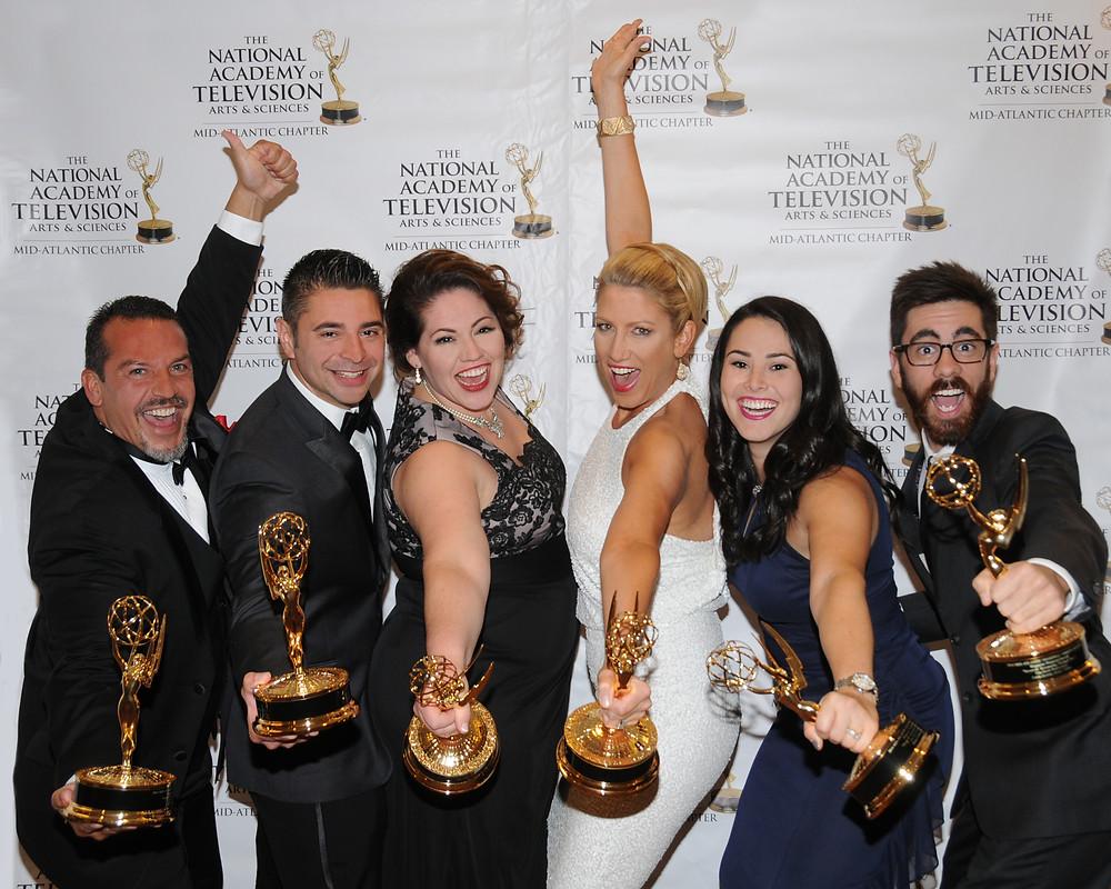 "Paul Luongo, Rocky Urich, Julia Urich, Liz Keptner, Casey Feinberg, & Carlo Acerra celebrate an Emmy® Award for ""Nazareth: Resonating Through Time."""