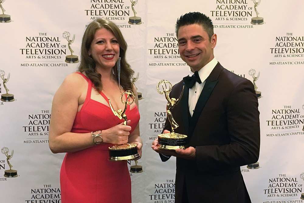 """Amy Sheller of Abominable Productions & Rocky urich of FireRock Productions win 2017 Craft Achievement Emmy® Award for """"Program Photographer"""""""