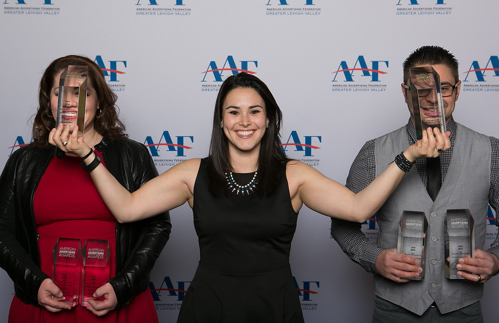 FireRock's Team Photo (Julia Urich, Casey Feinberg, & Rocky Urich) at the 2016 ADDY Awards