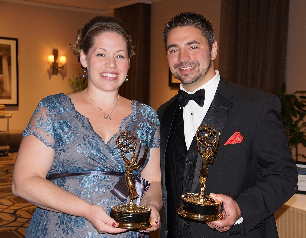 Julia Urich & Rocky Urich of FireRock Productions with their 2013 Emmy® Awards.