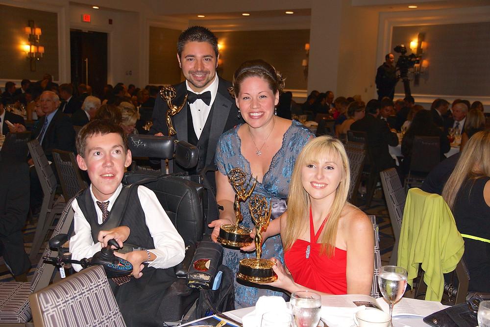 Shane Burcaw, Rocky Urich, Julia Urich, & Shannon O'Connor with their Emmy® Awards