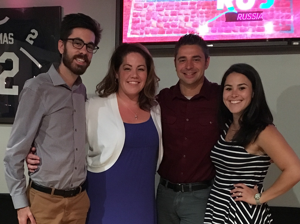FireRock (Carlo Acerra, Julia Urich, Rocky Urich, & Casey Feinberg) celebrate at the 2016 Mid-Atlantc Emmy® Nomination Party in Philadelphia.