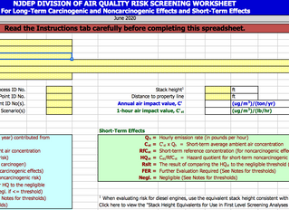 NJDEP Issues a Revision to Air Quality Risk Screening Worksheet