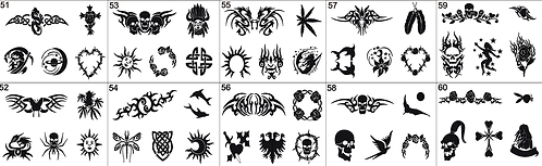 Tattoo Stencil No. 51 to 60- Please mention what numbers required
