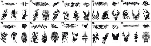 Tattoo Stencil No. 71 to 80- Please mention what numbers required
