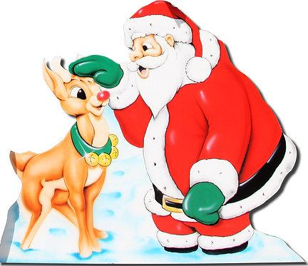 Santa & Reindeer 2 Cutout