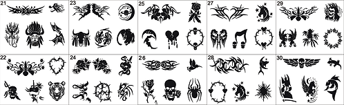 Tattoo Stencils No. 21to 30. Please mention what numbers required