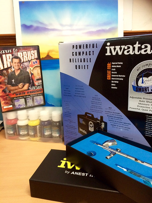 PRO AIRBRUSH KIT complete with Paints & DVD