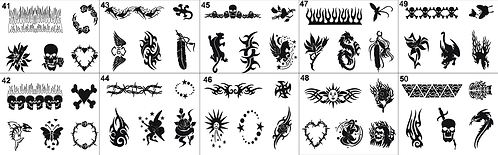 Tattoo Stencils No. 41to 50- Please mention what numbers required.