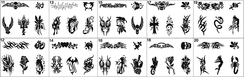 Tattoo Stencils No 11 to 20- Please mention what numbers required.