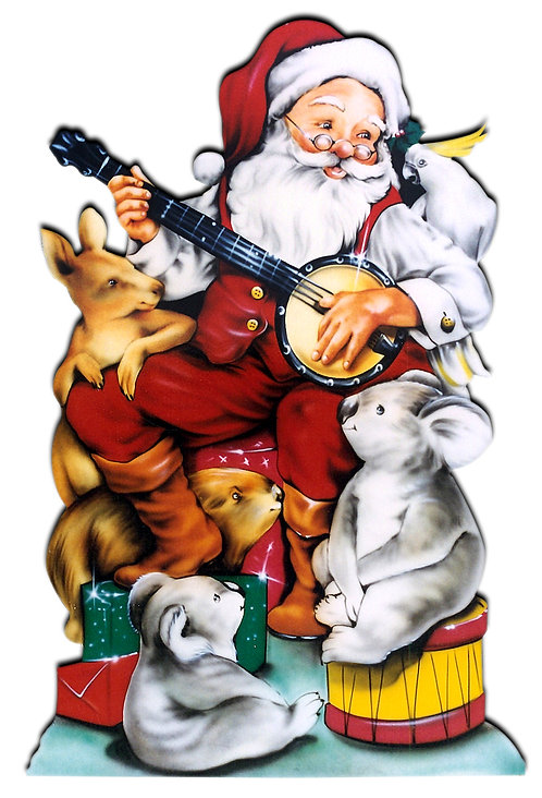 Santa with Banjo Cutout