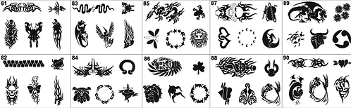 Tattoo Stencil No. 81 to 90- Please mention what numbers required